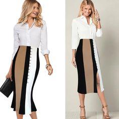 Women Elegant Contrast High Waist Pencil Midi Skirt