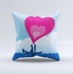 Love-Sail Heart Trip ink-Fuzed Decorative Throw Pillow from DesignSkinz