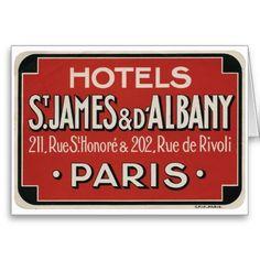 パリのヴィンテージ旅行荷物のラベル カード