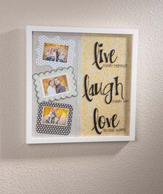 Wow! A 12x12 frame with patterned paper, embellishments, vinyl lettering and photos makes a stunning home decor piece! Tutorial on the Craft Warehouse blog