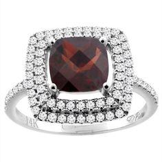 14K White Gold Natural Garnet Ring Cushion Cut 7x7 mm Double Halo Diamond Accents, size 5 #cushioncutdiamonds