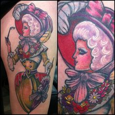 Blacks all healed, fresh colour! Thankyou Chelsea  #victorian #grannyrinse #parasol - @rachel_baldwin_tattoos- lady tattoo ink