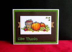 handmade Thanksgiving card by catluvr2  .... beautiful colored pencil coloring of pumpkins and wooden apple barrel ... green cork layer and natural cork background banners ... like it!