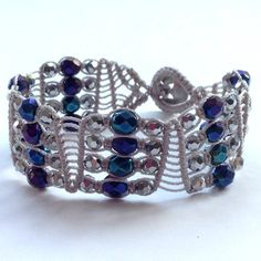 Wide Micro Macrame, Woven Beaded Bracelet in Peacock Blue, Purple & Silver, Made in UK, Boho Chic, Gift for Her