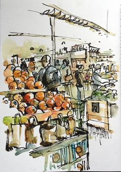 I love sketching busy places. One place that's guaranteed to have a crowd ( and good pastries) is the Whole Foods Market not far from home. Capturing crowds of people and color and texture is…