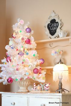 Candy themed white Christmas tree by Brown Paper Packages