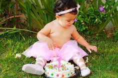 Ana Luiza no seu delicioso smash cake
