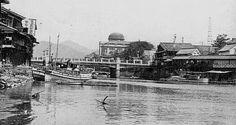 下流から見た県産業奨励館(現・原爆ドーム)および元安橋(1930年頃) / 左側(西側)が当時の天神町界隈。