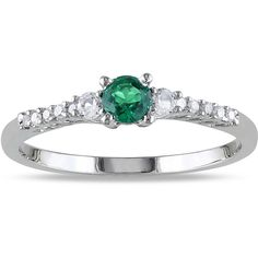 M by Miadora Sterling Silver Gemstone and Diamond Ring ($61) ❤ liked on Polyvore featuring jewelry, rings, green, green diamond ring, round cut diamond rings, diamond jewelry, diamond rings and band rings