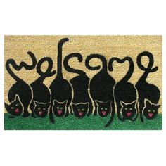 Spell out welcome with these feline friends. Made of natural coir and vinyl backed for stability and to prevent movement, this adorable Cats Welcome doormat is a must have for cat lovers.