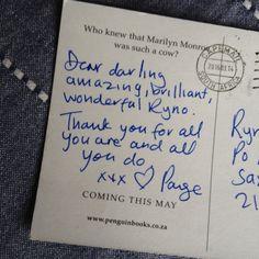 Look what I just got in the post! Thanks darling @paigen #DutchCourage   Source: https://twitter.com/taxi2venus/status/713679127119835139