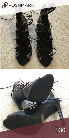 Brand New Black laced up Gladiator Heels Strappy Steve Madden Heels. Perfect Condition Steve Madden Shoes Heels