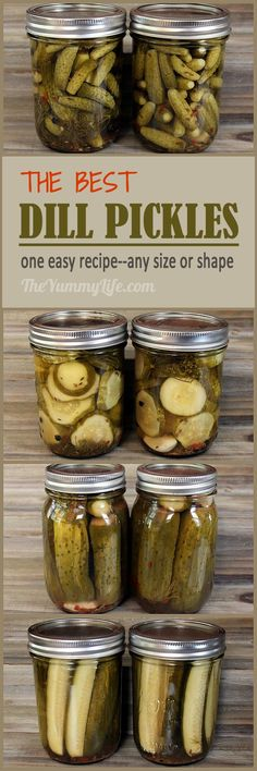 The Best Dill Pickles! An easy recipe for refrigerater pickles or canning whole, minis, spears, or coin-shaped pickles. Printable labels, too. From TheYummyLife.com