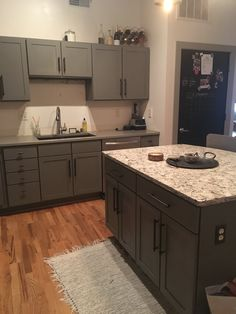 grey painted kitchen cabinets DIY