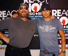 Hank Williams Jr. and Kid Rock backstage at benefit.