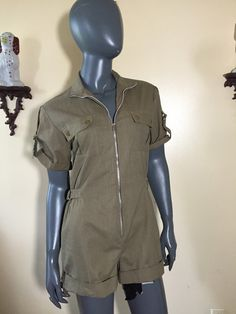 Romper 90s khaki cargo jumpsuit  by 3GenerationCuration on Etsy  #vintage #fashion #thrift #romper #90s #cargo #army #military #pilot #rad
