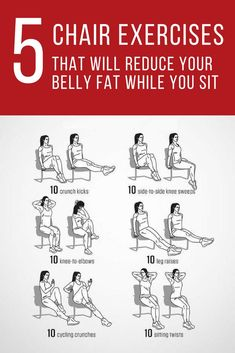 Workout Exercise If your job requires sitting on a chair in your office eight hours a day, it's time for you to shorten up that time with these exercises. Try these five simple chair exercises. Fitness Workouts, At Home Workouts, Anytime Fitness Workout, Fitness Weightloss, Fitness Games, Fitness Plan, Health Fitness, Workout For Flat Stomach, Belly Fat Workout