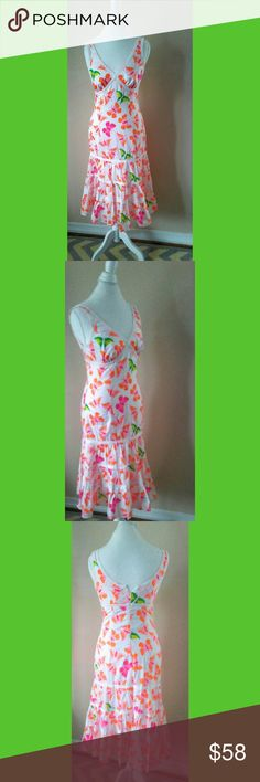Lilly Pulitzer Jacinda Sweet Butterfly Dress 8 I love the story of how Lilly Pulitzer started her colorful prints. Poshmark does not give me enough room to prattle about it but you ca look it up if interested! This Lilly Pulitzer dress is cotton edged in crochet lace with a fitter top and tiered skirt. Butterflies galore! Labeled a size 8. In perfect condition. Bust 38 waist 32 length 43 Lilly Pulitzer Dresses Midi