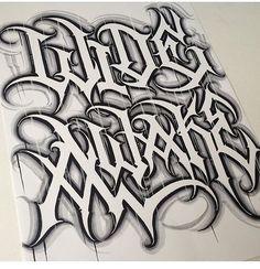 - Lettering Artwork by Daniel Zaragoza - Salvabrani Gothic Lettering, Graffiti Lettering Fonts, Script Lettering, Lettering Design, Tattoo Fonts Alphabet, Hand Lettering Alphabet, Graffiti Alphabet, Chicano Tattoos Lettering, Tattoo Lettering Styles