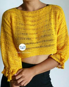 Crochet Fabric, Crochet Shirt, Crochet Crop Top, Crochet Bikini, Knit Crochet, Crochet Tops, Crotchet, Crochet Clothes, Diy Clothes