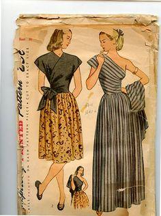 1940s Daytime or Evening Dress Simplicity by VioletCrownEmporium gown color illustration print ad pattern one shoulder wrap cross front bowl long grey stripes black floral