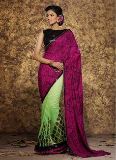 Flawless Green and Magenta Block Print Viscose Trendy Printed Saree
