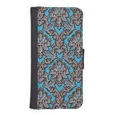 Vintage Style Blue Damask Wallet Phone Case  #damask #iPhone #Galaxy
