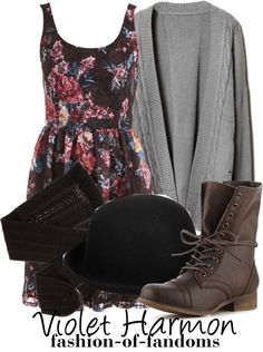 """Violet Harmon"" by waveyourwands97 ❤ liked on Polyvore"