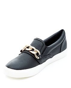 Black (Black) Black Textured Chain Trim Slip On Plimsolls   | 318512501 | New Look