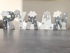Baby Elephant Name, Elephant Nursery Decor, Star Nursery, Nursery Name, Nursery Signs, Baby Room Letters, Name Letters, Letter Wall, Painted Letters