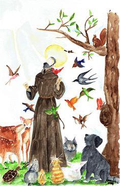 Catholic Art, Catholic Saints, Religious Art, Francis Of Assisi, St Francis, Frida E Diego, St Pio Of Pietrelcina, Mexican Paintings, Patron Saint Of Animals