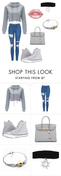 """❤️️"" by ariana-m10 ❤ liked on Polyvore featuring beauty, Topshop, Converse, Hermès and Lime Crime"