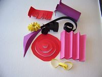 paper sculpture examples- fringing, curling, pleating (folding), spiral, chains, cylinder, cone