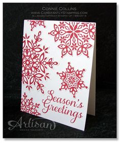 Festive Flurry Red Snowflake Card