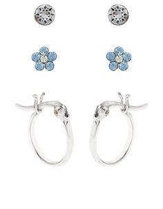 Sterling Silver 3 x Swarovski Flower And Hoop Earrings Set