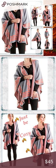 ✨Coming Thursday✨🍂Greek Key Poncho Hoodie Coral ✨Coming Soon✨🍂Greek Key Poncho Hoodie in Coral & Gray                                           🔸100% acrylic jacquard sweater poncho with over-sized hood - Can you say cozy! 🤗               🔸one size fits most                                               🔸love the coral color!                                           🔸arriving this coming week - like this listing for arrival notice or claim yours in comments. -only 2 will be…
