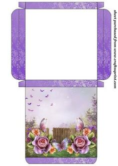 Purple english roses card box on Craftsuprint designed by Sharon Poore -