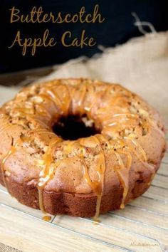 Butterscotch Apple Cake recipe. Loaded with tart apples and cinnamon and topped with a sweet butterscotch topping, this flavorful bundt cake is the best of the fall season. by rosario