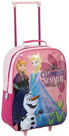 Sambro Disney Frozen Pink Elsa Anna Olaf Celebrate Summer Outdoor Travel Trolley Bag @ niftywarehouse.com #NiftyWarehouse #Frozen #FrozenMovie #Animated #Movies #Kids