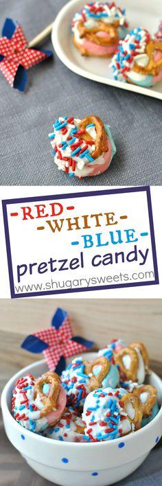 red white blue pretzel candy