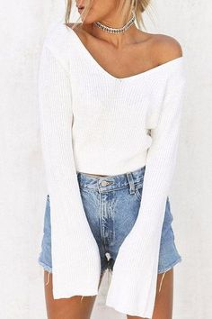 Flare Sleeved Knitted Pullover