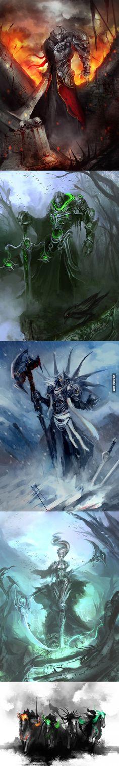 Os quatro cavaleiros do apocalipse. Guerra, Fome, Peste e Morte( na ordem de cima para baixo).