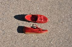 red leather oxfords / woven leather shoes / leather by QuietUnrest