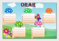 Orare cu diverse modele School Frame, Kids Education, Yoshi, Smurfs, Mickey Mouse, Crafts For Kids, Clip Art, Classroom, Learning