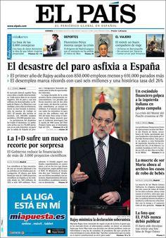 Los Titulares y Portadas de Noticias Destacadas Españolas del 25 de Enero de 2013 del Diario El País ¿Que le parecio esta Portada de este Diario Español?