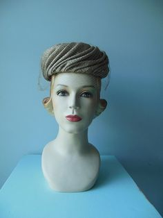 Vintage Dowa Tan Pill Box Hat by RockThatFrock on Etsy