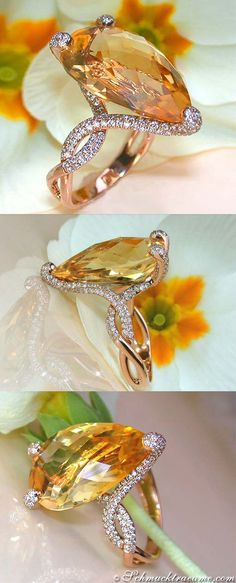 Beautiful Citrine Diamond Ring