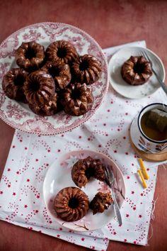 Cocoa coffee mini bundt cakes---I love the idea of individual bundt cakes! So much prettier than cupcakes!