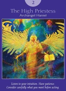 The High Priestess - Archangel Haniel - Angel Tarot Cards by Doreen Virtue and Radleigh Valentine. Artwork by Steve A. Archangel Haniel, Archangel Raphael, Free Tarot Cards, Angel Guidance, Oracle Tarot, Daily Tarot, Tarot Card Decks, Angel Cards, Card Reading