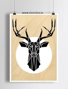 Mimimal Deer Art Print Geometric Stag Head Wall Art by Stencilize